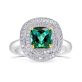Leibish Platinum and 18K Yellow Gold Green Tourmaline Diamond Double Milgrain Halo Ring Size 6.25
