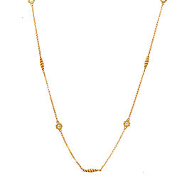 Roberto Coin New Barocco 18K Yellow Gold 0.18ct Diamond Braid Necklace