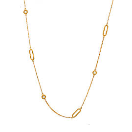Roberto Coin New Barocco 18K Yellow Gold 0.19ct Diamond Braid Necklace
