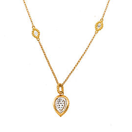 Roberto Coin New Barocco 18K Yellow Gold 0.60ct Pear Shape Diamond Pendant on Diamond Station Chain Necklace