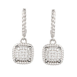 Roberto Coin New Barrocco 18K White Gold 0.30ct Diamond Drop Earrings