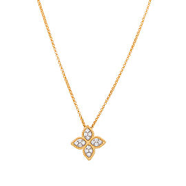 Roberto Coin 18K Yellow Gold 0.17ct Diamond Princess Flower Pendant Necklace