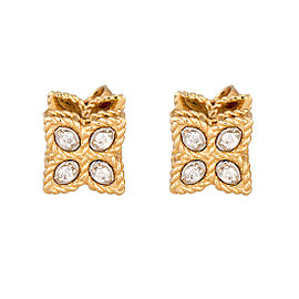 Roberto Coin 18K Yellow Gold 0.07ct Diamond Princess Flower Earrings