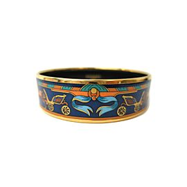 Hermes Cloisonne Gold Tone Metal Large Bangle Bracelet