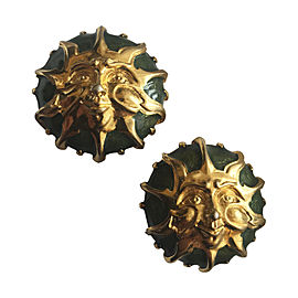 Fendi Gold Plated Hardware and Green Enamel Sun Earrings
