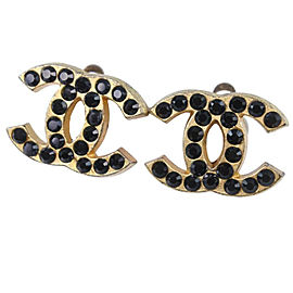 CHANEL Rhinestone/Gold Plated COCO Mark Earring