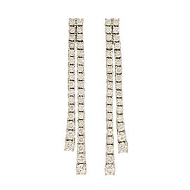 14K White Gold with 3.00ct Diamond Luxury Drop Long Earrings