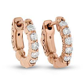 14k Rose Gold 0.42 Ct. Natural Diamond Small Hoop Huggie Earrings