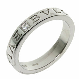 BVLGARI 18K White Gold Double logo 1P Diamond Ring TNN-2034