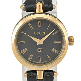 GUCCI Sherry line black Dial Gold Plated/Leather Quartz Ladies Watch