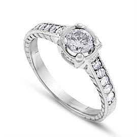 14k White Gold 0.80ct. Round Diamond Engagement Ring Size 8.75