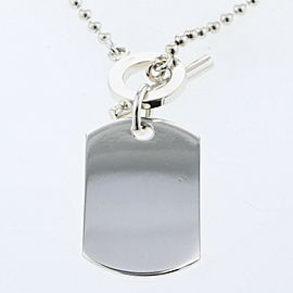 GUCCI 925 silver Dog tag crest emblem logo Necklace