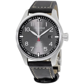 Alpina Sartimer Pilot AL525GB4S6 Stainless Steel & Leather Automatic 44mm Mens Watch