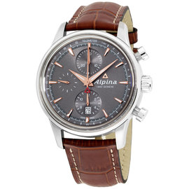 Alpina Alpiner AL750VG4E6 Grey Dial Leather Strap 41mm Mens Watch