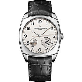 Vacheron Constantin Harmony Dual Time 7810S/000G-B142 18K White Gold and Leather with Silver-Tone Dial 40mm Mens Watch