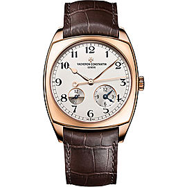 Vacheron Constantin Harmony Dual Time 7810S/000R-B141 18K Rose Gold and Leather with Silver-Tone Dial 40mm Mens Watch