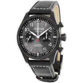 Alpina Startimer Pilot AL860GB4FBS6 Grey Dial Black Leather Strap 44mm Mens Watch
