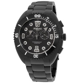 Zodiac ZO8202 Matte Black IP Stainless Steel & Rubber Quartz 45mm Mens Watch