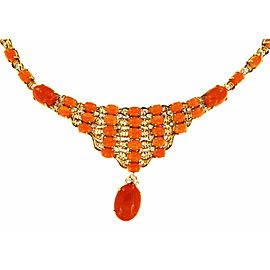 18K Yellow Gold with Coral & 1.75ct Diamonds Necklace