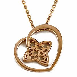 LOUIS VUITTON 18K Pink Gold heart Pandantif Cool Necklace CHAT-747
