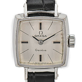 OMEGA Geneva Silver Dial SS/Laeth Cal.485 Hand Winding Ladies Watch
