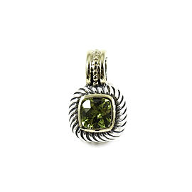David Yurman Sterling Silver 14K Yellow Gold Peridot Small Square Enhancer