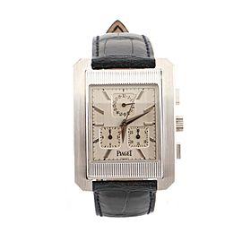 Piaget Protocole Chronograph Quartz Watch White Gold and Alligator 32