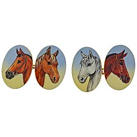 English Enamel Horse Equestrian Gold Cufflinks