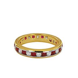Tiffany & Co Lucida Diamond 4mm 18K Yellow Gold Platinum Ruby Wedding Band