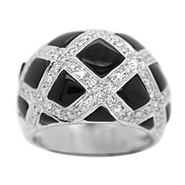 18k White Gold CrissCross Diamond and Onyx Dome Ring