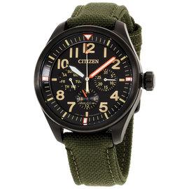 Citizen Chandler BU205516E Black Stainless Steel & Canvas Strap Black Dial 42mm Men's Watch