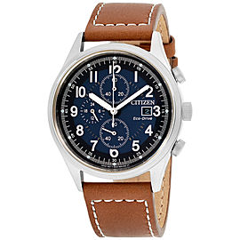 Citizen Chandler CA062105L Stainless Steel & Leather Strap Blue Dial 42mm Men's Watch