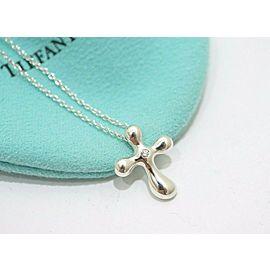 """Tiffany & Co. Sterling Silver Peretti Cross Diamond Necklace 16"""""""