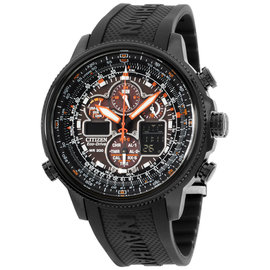 Citizen Navihawk JY8035-04E Black Ion Plated Stainless Steel & Rubber Quartz 48mm Mens Watch