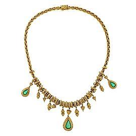 H Stern Emerald Diamond Gold Pendant Necklace