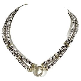 Lagos Sterling Silver 18K Yellow Gold .80tcw 2-Row Pave Diamond Caviar Circle Game Necklace