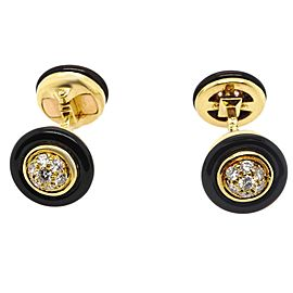 Van Cleef & Arpels Diamond Onyx 18 Karat Gold Cufflinks
