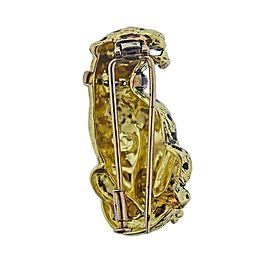 Gold Diamond Enamel Panther Brooch Pin