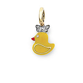 Aaron Basha Chick 18k Yellow Gold Enamel 0.03ct. Diamond Charm