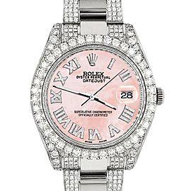 Rolex Datejust II 41mm Diamond Bezel/Lugs/Bracelet/Royal Pink MOP Roman Dial Steel Watch 116300