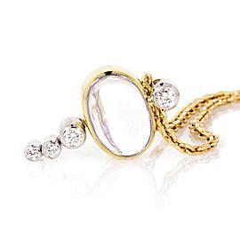 Estate 14K Yellow Gold Moonstone and Diamond Pendant Necklace