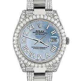 Rolex Datejust II 41mm Diamond Bezel/Lugs/Bracelet/Sky Blue Roman Dial Steel Watch 116300