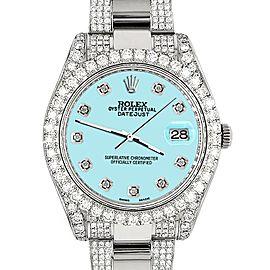 Rolex Datejust II 41mm Diamond Bezel/Lugs/Bracelet/Aqua Blue Diamond Dial Steel Watch 116300