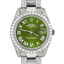 Rolex Datejust II 41mm Diamond Bezel/Lugs/Bracelet/Royal Green Roman Dial Steel Watch 116300