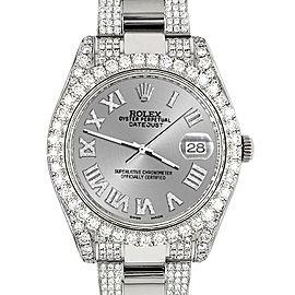 Rolex Datejust II 41mm Diamond Bezel/Lugs/Bracelet/Silver Roman Dial Steel Watch 116300