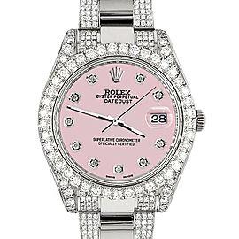 Rolex Datejust II 41mm Diamond Bezel/Lugs/Bracelet/Orchid Pink Diamond Dial Steel Watch 116300