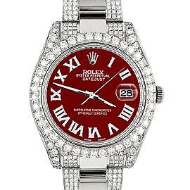 Rolex Datejust II 41mm Diamond Bezel/Lugs/Bracelet/Imperial Red Roman Dial Steel Watch 116300