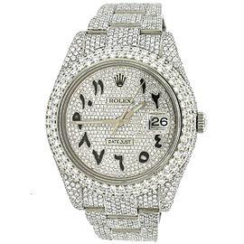Rolex Datejust II 41MM Pave Diamond Steel Watch w/23.3CT Diamond Bezel/Lugs/Bracelet/Arabic Dial
