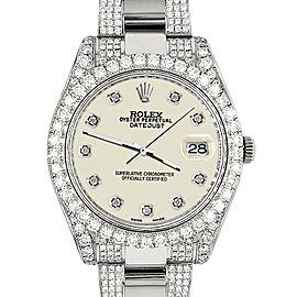 Rolex Datejust II 41mm Diamond Bezel/Lugs/Bracelet/Linen White Diamond Dial Steel Watch 116300