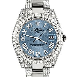 Rolex Datejust II 41mm Diamond Bezel/Lugs/Bracelet/Ice Blue Jubilee Roman Dial Steel Watch 116300